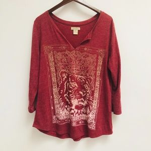 Lucky Brand Long Sleeve V Neck Tee size XL
